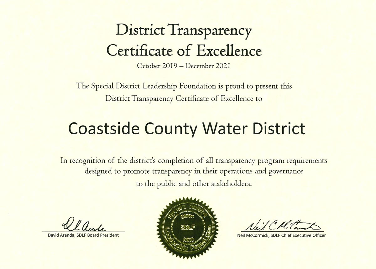 District Transparency Certificate of Excellence awarded to CCWD in recognition of completion of all transparency program requirements